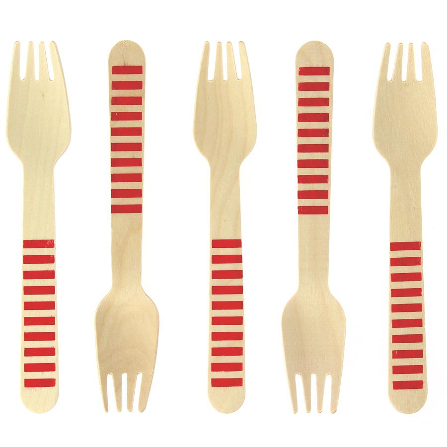 10 Fourchettes en Bois Rayures Rouges - Biodégradable 10 fourchettes... par LeGuide.com Publicité
