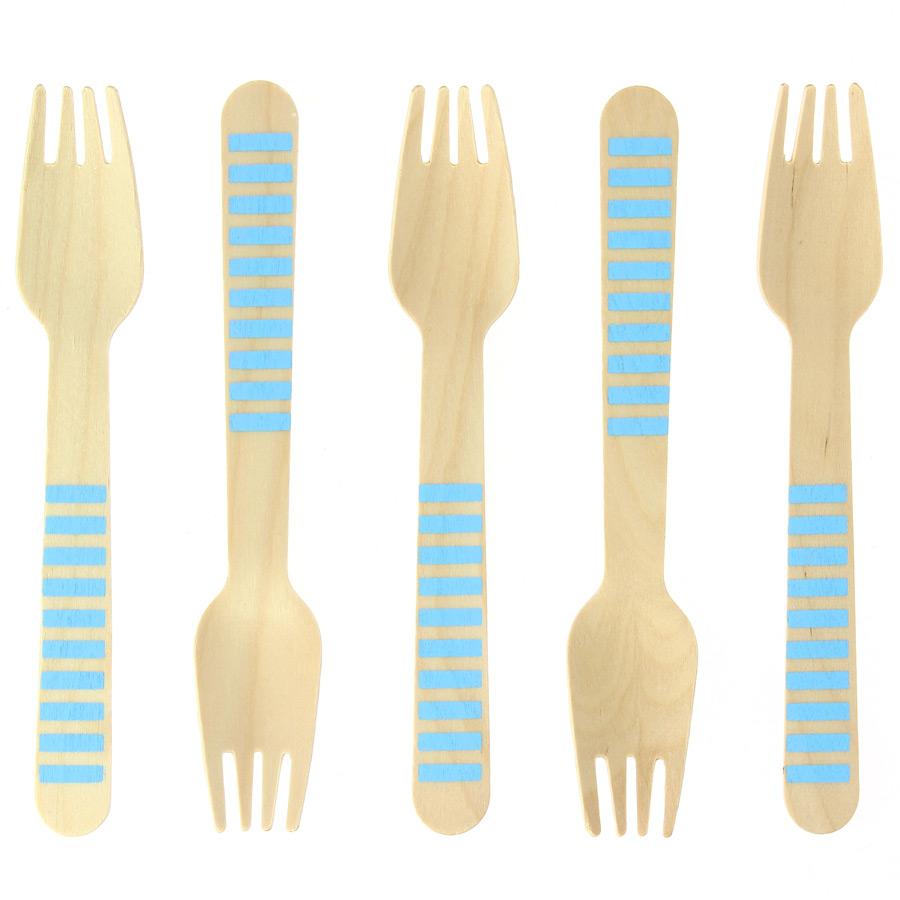 10 Fourchettes en Bois Rayures Bleues - Biodégradable 10 fourchettes... par LeGuide.com Publicité