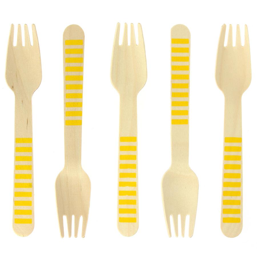 10 Fourchettes en Bois Rayures Jaunes - Biodégradable 10 fourchettes... par LeGuide.com Publicité