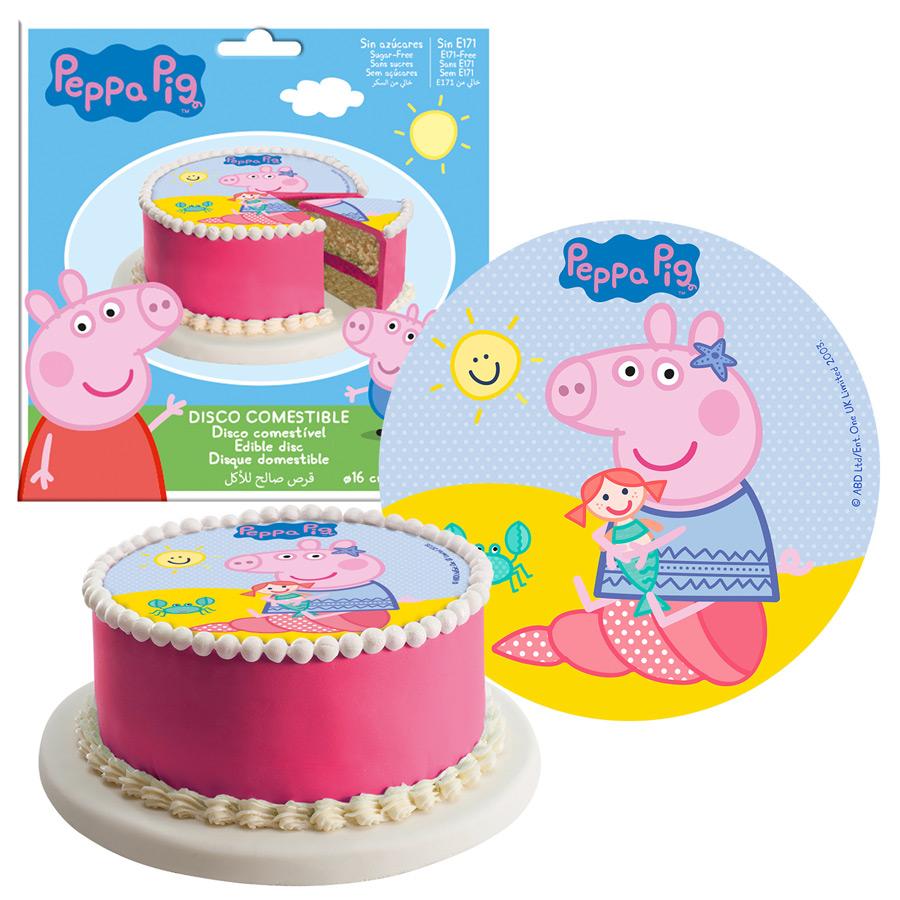 Peppa Pig Decoration Gateau Disque Azyme Comestible Anniversaire