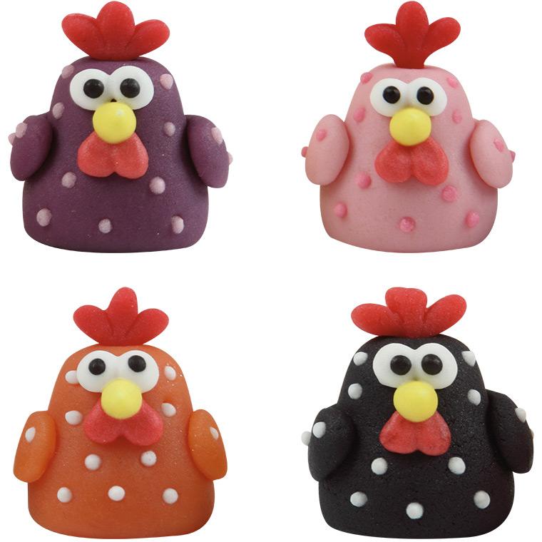 3 poules 3d en pâte d'amande pour l'anniversaire de votre enfant