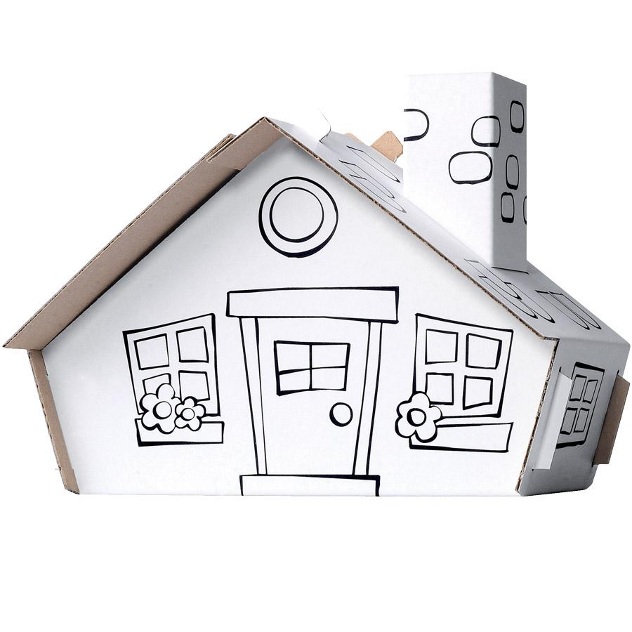 Maison carton a colorier hoze home - Cabane en carton a colorier ...