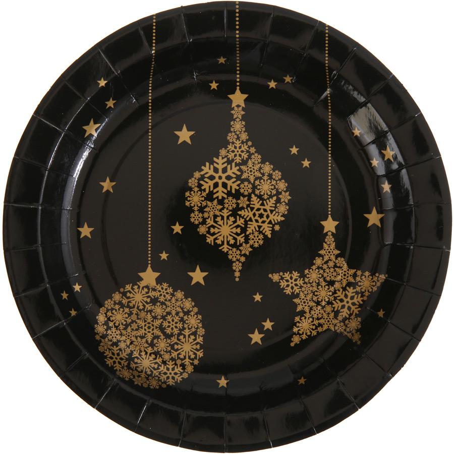 10 Assiettes Noël Chic Noir Lot de 10 assiettes Noël Chic au design Or... par LeGuide.com Publicité