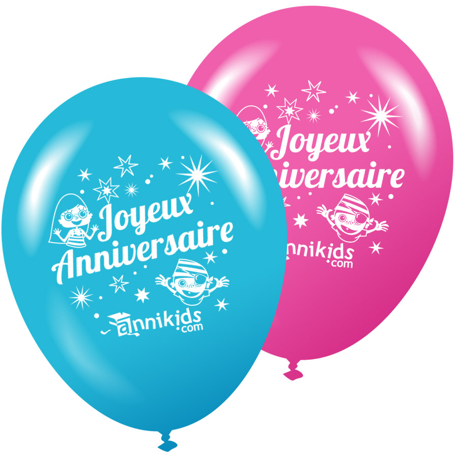 8 Ballons Annikids Joyeux Anniversaire Rose Bleu