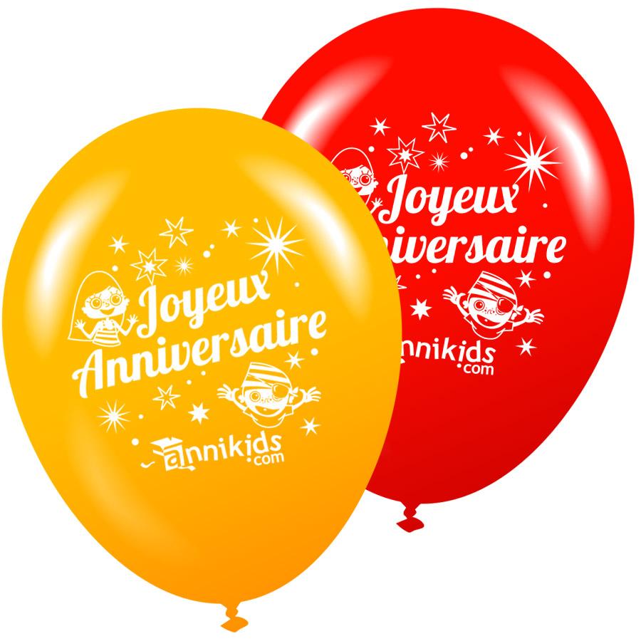 8 Ballons Annikids Joyeux Anniversaire Jaune Rouge
