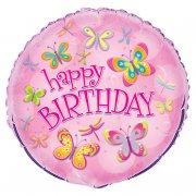 Ballon Mylar Happy Birthday Papillons