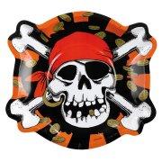 6 assiettes Pirate t�te de mort