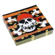 20 serviettes Pirate t�te de mort