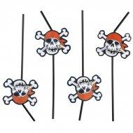 8 pailles Pirate t�te de mort