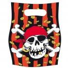 6 pochettes � cadeaux Pirate t�te de mort