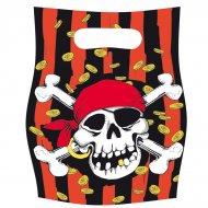 6 pochettes à cadeaux Pirate tête de mort