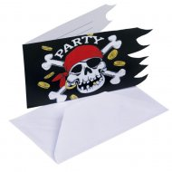 6 cartes d'invitations Pirate tête de mort