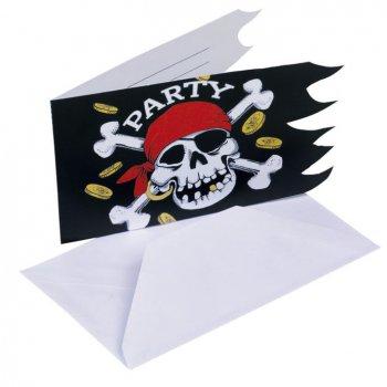6 cartes d invitations Pirate tête de mort