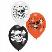 6 ballons Pirate t�te de mort