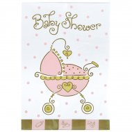 8 invitations Baby shower fille