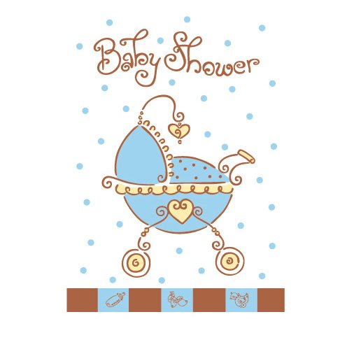 8 invitations Baby shower garçon