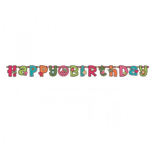 Guirlande lettres Happy Birthday Peace and Love