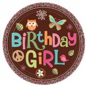 8 assiettes Peace and Love Birthday Girl