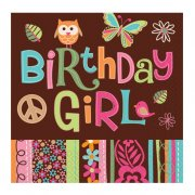 16 serviettes Peace and Love Birthday Girl