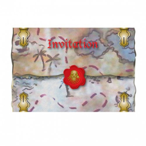 8 Invitations Red Pirate