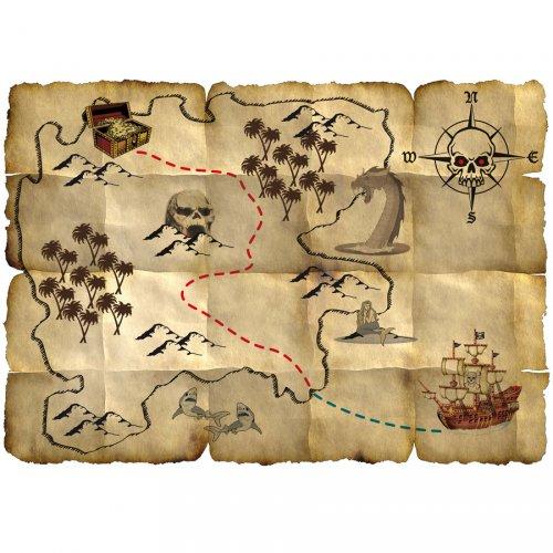Carte Au Tresor Pirate.4 Cartes Au Tresor Red Pirate