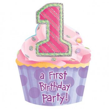 8 invitations First Birthday Rose