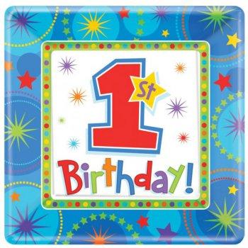8 Assiettes First birthday Bleu