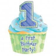 8 Invitations First birthday Bleu
