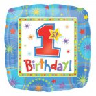 Ballon Mylar First birthday Bleu