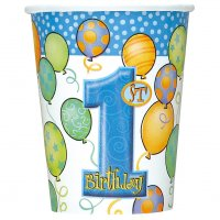 Contient : 1 x 8 gobelets anniversaire 1 an garçon