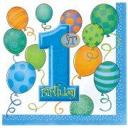 16 serviettes anniversaire 1 an garçon