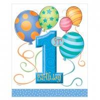 Contient : 1 x 8 pochettes à cadeaux anniversaire  1 an garçon