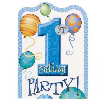 8 invitations  anniversaire 1 an garçon