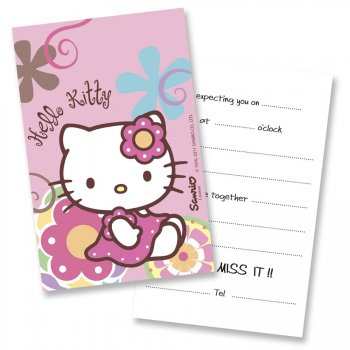 6 invitations Hello Kitty bamboo