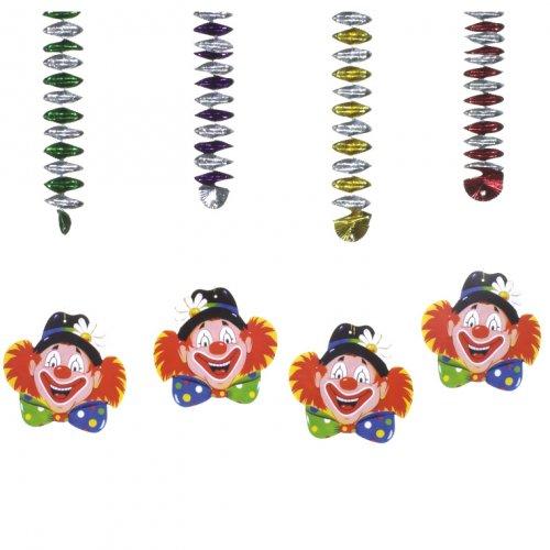 4 décorations spirale Clown