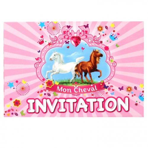 6 Cartes d invitations Mon Cheval