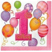 16 serviettes anniversaire 1 an fille