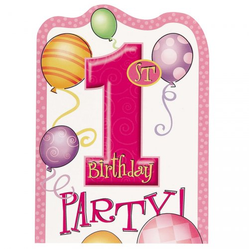 8 invitations anniversaire 1 an fille