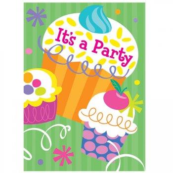 8 Invitations Cupcake