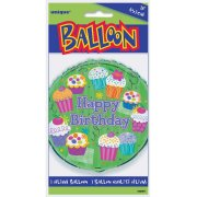 Ballon Mylar Happy Birthday Cupcake