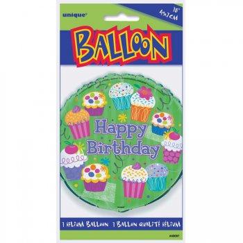 Ballon Mylar Happy Birthday Cupcake