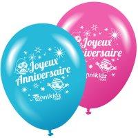Contient : 1 x 8 Ballons Annikids Joyeux Anniversaire Rose-Bleu