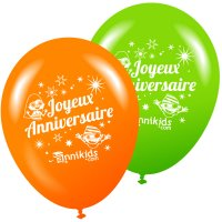 Contient : 1 x 8 Ballons Annikids Joyeux Anniversaire Vert-Orange