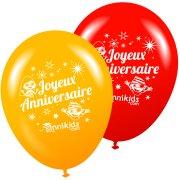 8 Ballons Annikids Joyeux Anniversaire Jaune-Rouge