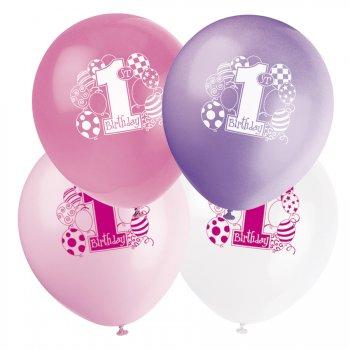 8 ballons 1st Birthday fille