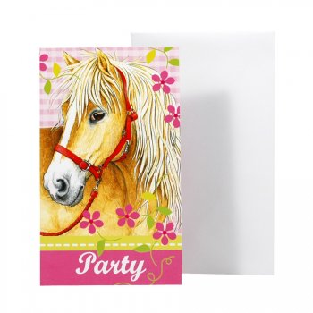 6 cartes d invitation Cheval