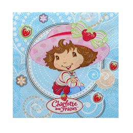 16 serviettes Charlotte aux fraises
