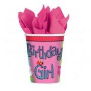 8 gobelets Birthday Girl