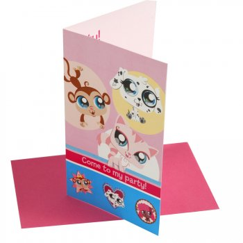 6 invitations Littlest PetShop