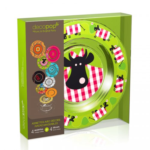 Coffret 4 Assiettes Decopop Marguerite